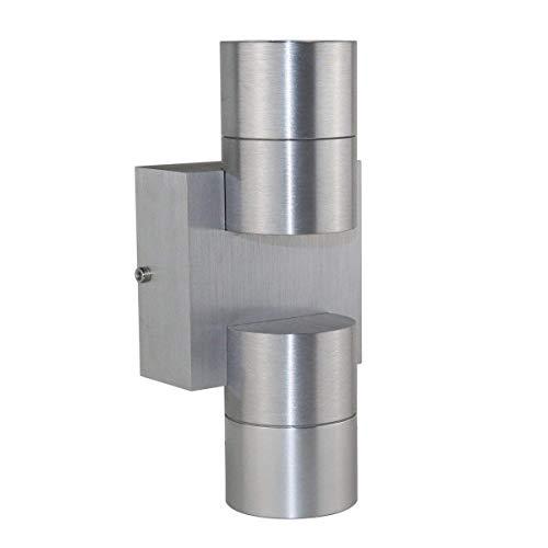 VBLED® wandlamp DUO incl. 2x LED-lampen 5W warm wit (GU10) - Up & Down Design van aluminium - wandspot voor binnen en buiten geschikt door beschermingsklasse IP44