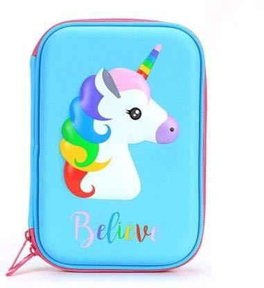 Parteet Unicorn Color Change Stylish Large Capacity Hardtop Pencil Case Organizer,Pen Holder Pouch (Sky Blue)