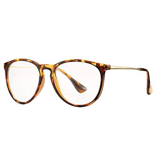 COASION Vintage Clear Glasses for Women Non-Prescription Designer Eyeglasses Frames (Tortoise/Gold)