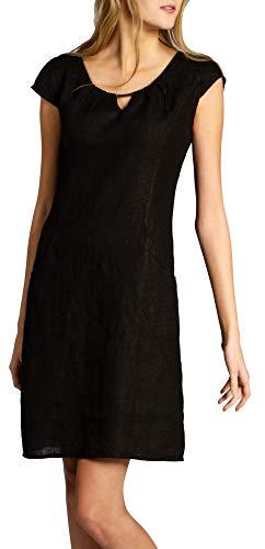 Caspar SKL020 knielanges Damen Sommer Leinenkleid mit eleganter Metallspange bis Größe 50, Farbe:schwarz, Größe:5XL - DE50 UK22 IT54 ES52 US20