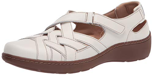 Clarks womens Cora Dream Loafer Flat, White Leather, 9.5 Narrow US