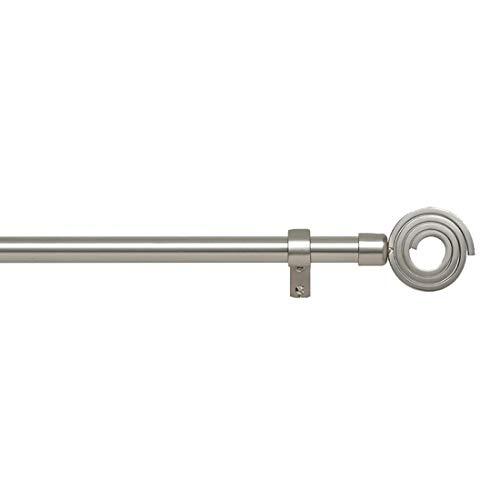 STORESDECO Barra de Cortina Extensible de 19/16mm de diámetro, de Metal, Decorativa y Moderna. Ideal para Cortinas de Dormitorio, salón (160 a 300 cm, Espiral Cromo Mate)