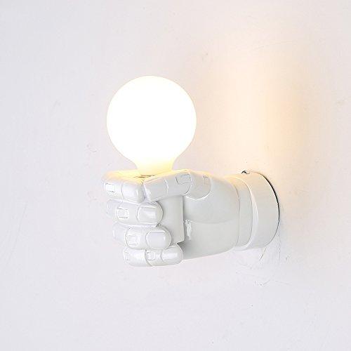 Lampes murales industrielles rétro, European Village LED poing en résine suspendu lumière murale lumière Creative étude bar escalier Applique murale, Noir (Color : White, Design : Left hand)