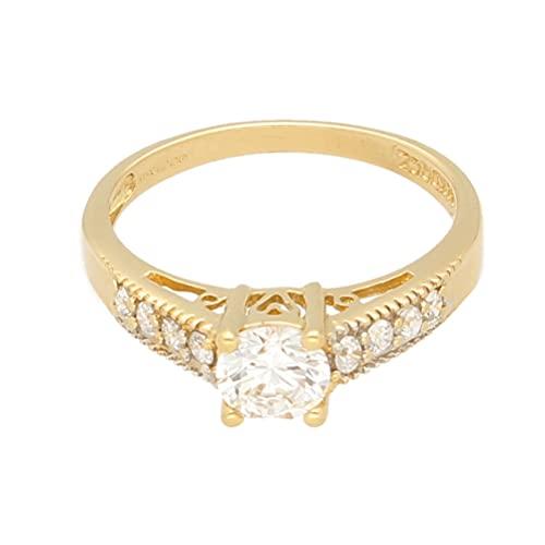 Anillo solitario de oro amarillo de 14 quilates con diamantes de imitación y detalles (tamaño S) cabeza de 6 mm   Anillo de lujo para mujer