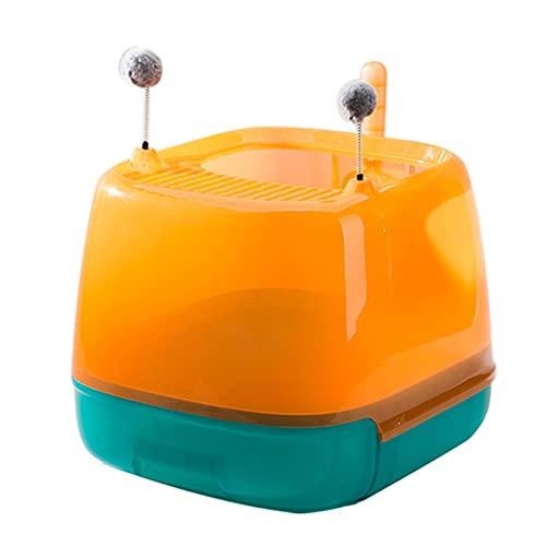 Inodoro con bandeja de plástico para gatos Caja de arena de gato con tapa filtrada, parte superior para entrada y salida de gatito cerrado. Interior y exterior ( Color : Orange , Size : 50x45x39cm )