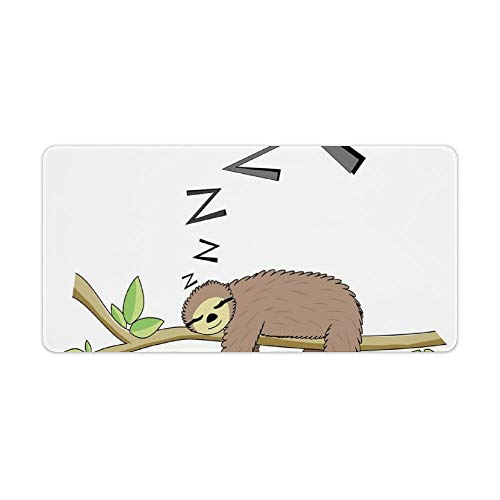 Extended Gaming Mouse Pad with Stitched Edges Large Keyboard Mat Non-Slip Rubber Base Arboreal Mammal Sleeping on Branch in Forest Lazy Mood Resting Relaxing Desk Pad for Gamer Office 12x24 Inch