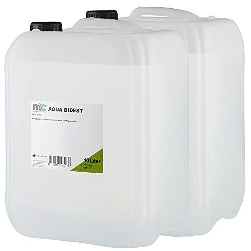 Aqua Bidest – 2 taniche da 10 litri, acqua pura da laboratorio 20 l, acqua bidistillata, 2 volte...