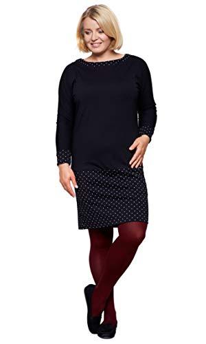 Be Mama Maternity & Baby wear Robe en coton 2 en 1 pour femme Grande taille - Noir - XXXL