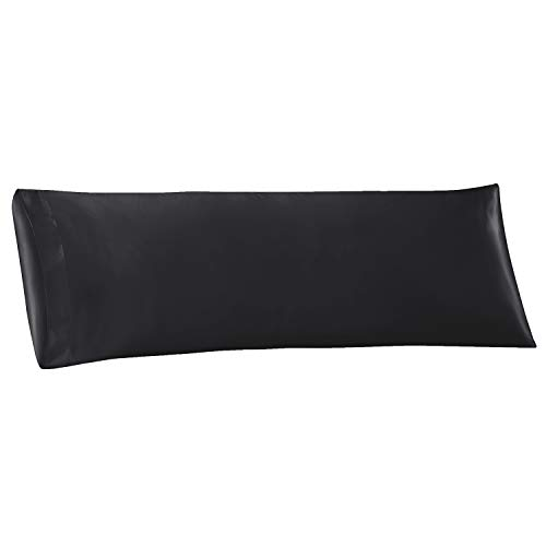 EXQ Home Satin Body Pillow Cover 20x54 inches, Black Body...