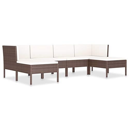 Tidyard Conjuntos Sofa Exterior Silla Ratan Exterior 1# Set Muebles de jardín 6 Piezas y Cojines ratán sintético marrón