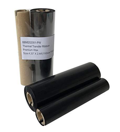 Thermal Transfer Resin Enhanced Wax Barcode Ribbon Black Label Printer 4.33  x244 (110mmX74m) 1 Roll Compatible for Zebra Datamax Eltron Intermec Sato