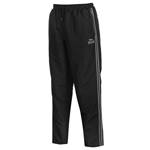 Lonsdale Herren 2 Streifen Trainingshose Leicht Gewebt Sporthose Jogginghose Hose Schwarz/Charcoal Medium