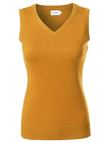 Awesome21 Solid Office Look Soft Stretch Sleeveless Viscose Knit Vest Top Mustard L