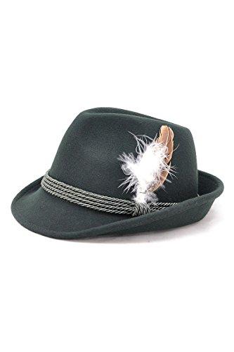 Bavariashop Traditioneller Trachten-Hut grün mit echter Hutfeder, hochwertig 100% Wollfilz Size 57