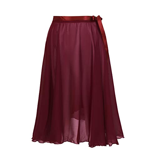 TiaoBug Falda de Ballet Mujeres Bailarinas Falda Larga de Gasa con Cinturilla Ajustable Envoltura para Bodies Gimnasia Niñas Mujeres Maroon One Size