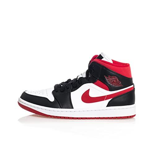 Nike Air Jordan 1 Mid, Scarpe da Basket Uomo, White/Gym Red-Black, 44 EU
