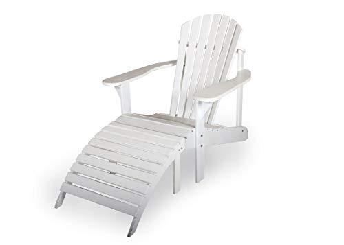 Adirondack Gartenstuhl + Fußstütze, aus exklusivem Mahagoni Hartholz, weiß, Edelstahlverschraubungen
