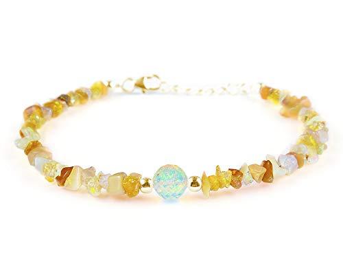 OOAK door Virat Good Luck Armband, Opal Nuggets & Kralen Armband in 14K Goud vergulde 925 sterling zilveren ketting 8