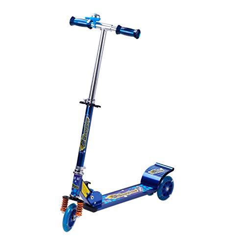 LITIAN Kind-Roller mit DREI Rädern Flash-Scooter Baby-Pulley Scooter Blue