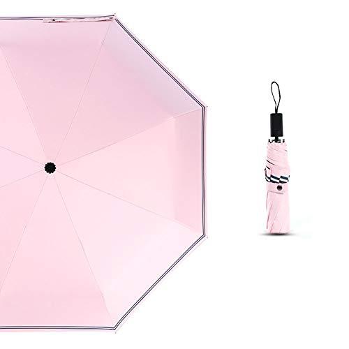 BAIXL Parasol Plage Anti UV, Compact Léger Coupe-Vent Automatique/Rayé Imperméable À l'eau Solaire Pliable Noir Plastique Unisexe Manche en Caoutchouc Antidérapant,Pink,Manual