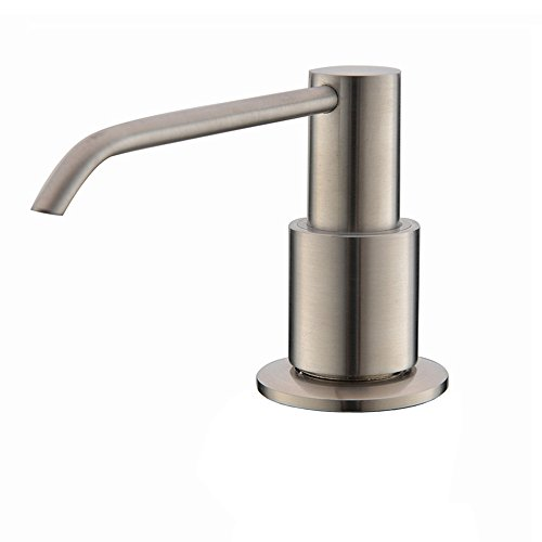 Ufaucet 12 Oz Built In Deck Mount Under Sink Counter Stainless Steel Brushed Nickel Pump Kitchen Sink Soap Dispenser, Undermount Soap Dispenser Kitchen Sink