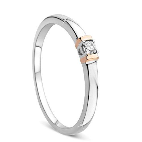 Orovi Damen Verlobungsring Gold Solitärring Diamantring 9 Karat (375) Brillanten 0.05crt Weißgold Ring mit Diamanten