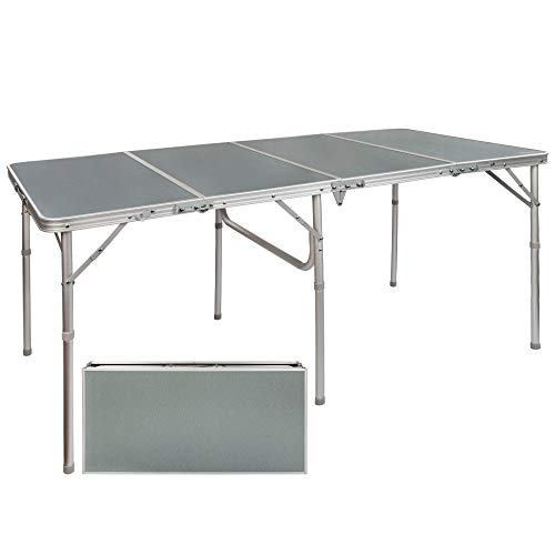 Aktive 52864 52864-Mesa Plegable Grande, Camping, jardín, Mesa Multiusos Resistente, Aluminio, 160x80x70,5 cm, Color Gris, Aluminum