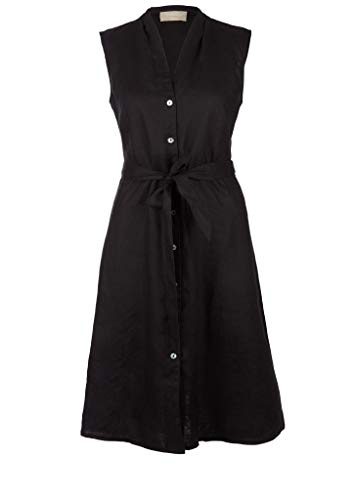 s.Oliver Damen Leinenkleid mit Perlmuttknöpfen Black 38