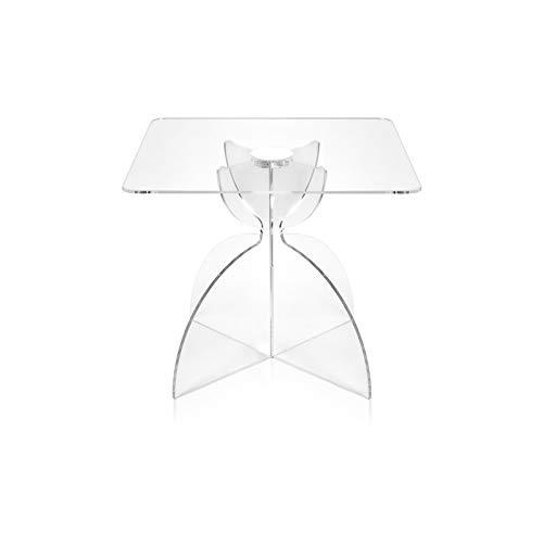 iPLEX - Tavolino Linea Tessara Quadrato Sagomato Trasparente in plexiglass Stile Celtico Dim. 42x50x50 cm - Arredamento casa sa