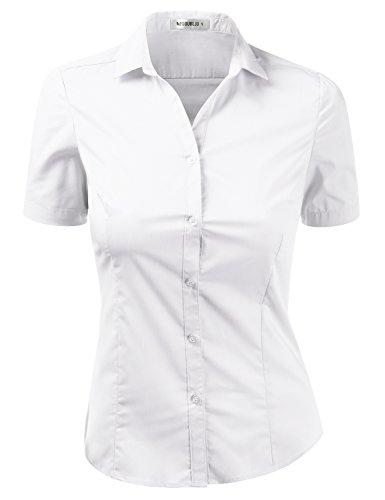 Doublju Womens Slim Fit Plain Classic Short Sleeve Button Down Collar Shirt Blouse White S