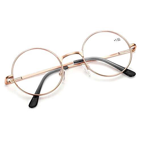 VEVESMUNDO Schoenleben Runde Metall Lesebrille Herren Damen Nickelbrille Lennon Brille Lesehilfe Stärke (Golden, 3.0)