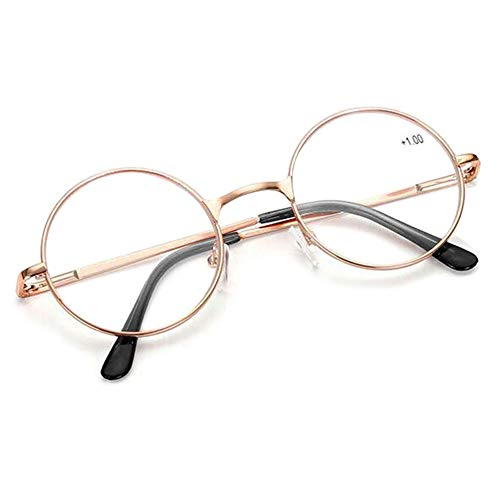 Schoenleben Runde Metall Lesebrille Herren Damen Nickelbrille Lennon Brille Lesehilfe Stärke (Golden, 4.0)