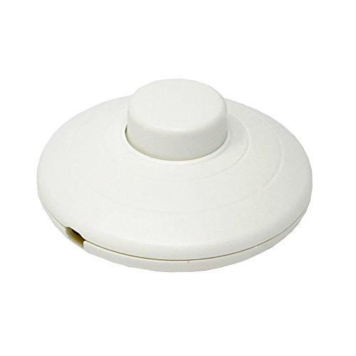 Fußschalter Weiß für Rundkabel 250V/2A Schnurzwischenschalter für Zuleitungen und Anschlusskabel Fußtretschalter Ø 70x29