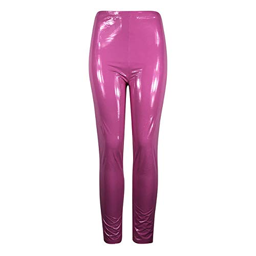 IHCIAIX Damen Lederhose,Damengamaschen, Ledergamaschen im Wet-Look, Schwarze, schmale, dünne, Lange Hose, dünne Damengamaschen, dehnbar in Übergröße, Pink, XL