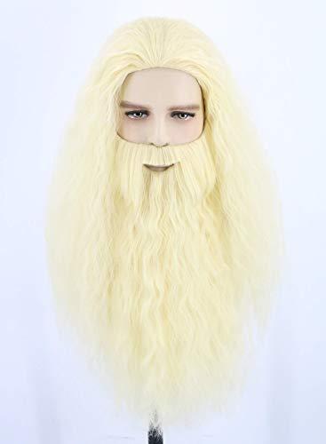 Perruque et Barbe inspirée par la Longue Perruque Blanche de Gandalf pour Homme Cosplay Wizard Sorcerer Prophet Wig pour Le Carnaval Halloween Costume