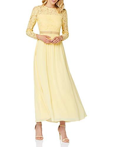 Amazon-Marke: TRUTH & FABLE Damen Maxi A-Linien-Kleid aus Spitze, Gelb (hellgelb), 38, Label:M