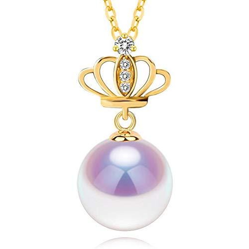 Fashion Jewelry@ Damen Halskette mit 8.5-9mm Akoya Perle Gelbgold 750/18 Karat Krone Perlenkette und 925 Sterling Silber 45cm Kette