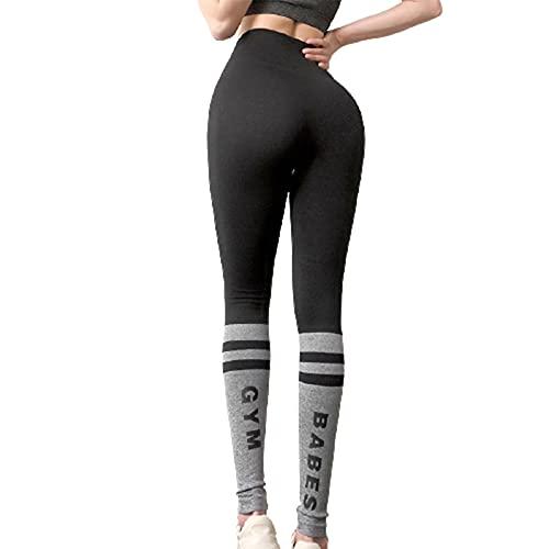 Benxin Pantalones ajustados de yoga de cintura alta sin costuras, para mujer, control de barriga, entrenamiento, correr, yoga