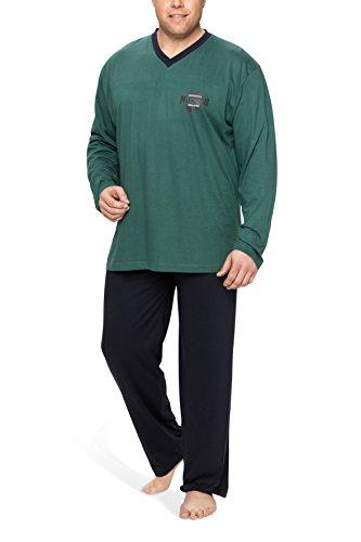 Moonline Plus Schlafanzug Herren lang übergroß aus Baumwolle, Farbe:Petrol, Größe:5XL