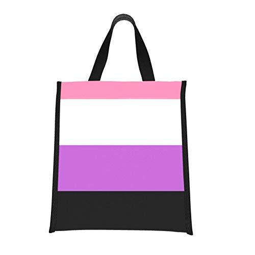 Cooler Large Bag Genderfluid Gender Flag No binario Mujeres Lunchbags Bolsas de almuerzo para niñas Reutilizables, plegables Mantiene la comida caliente/fría para mujeres, hombres, es