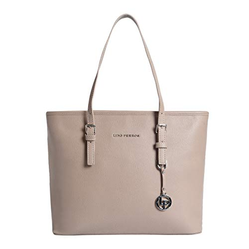 Lino Perros Women's Artificial Leather Hand bag Beige Coloured