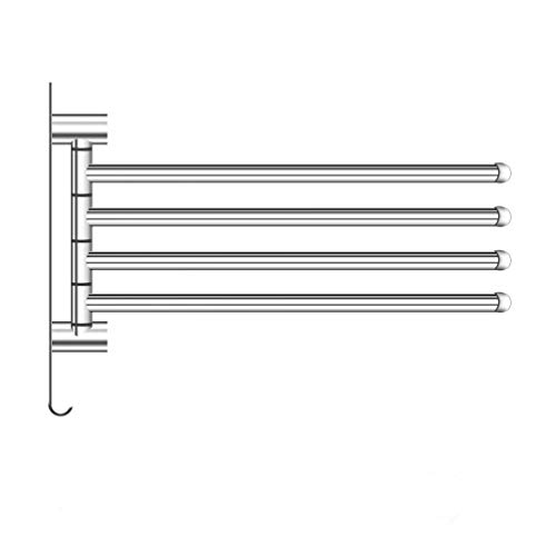 LingYe Edelstahl Handtuchhalter Handtuchhaken 180°Drehung mit 4 Schwing Armen einfach und stilvoll L15