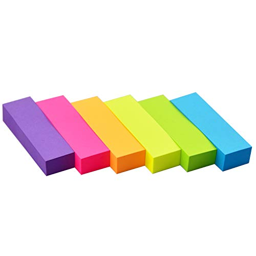 Sticky Notes 0.6 x 2 Self-Stick Notes 6 Bright Color 30 Pads, 100 Sheets/Pad (6 Bright)