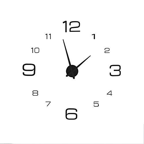 Atyhao Reloj de Pared 3D, acrílico DIY Reloj de Pared 3D Pegatina Reloj Grande Pared Decoración Moderna de la Sala de la Oficina en el hogar(Negro)