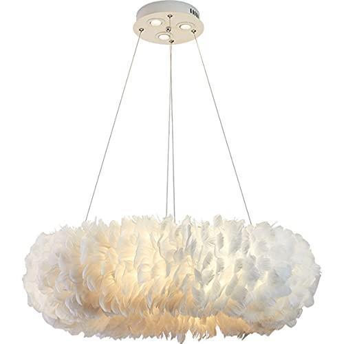 Araña Decorativa Moderna DIRIGIÓ Luces Colgantes De Plumas Blancas Con Focos De 10W Calzo Romántico Dormitorio Dormitorio Sala De Estar Iluminación Luz De Techo (Color : 40cm)
