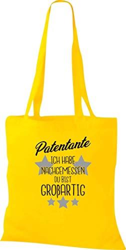 Shirtstown Borsa di Stoffa, Madrina Io Habe Nachgemessen Du Bist Grande, Custodia Sacchetto Shopper - giallo, 38 cm x 42 cm