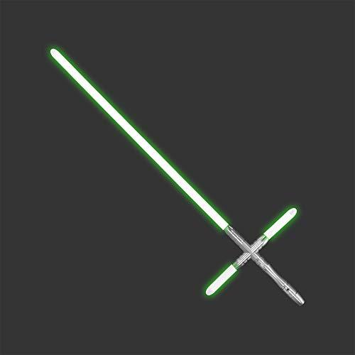 YDD Kylo Ren Replica Lightsaber Light Up Green Led Light Saber Force FX Metal Hilt for Adult (Silver hilt Green Blade)