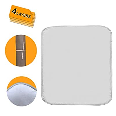 Ironing Mat for Table Top, Washer and Dryer, Extra Thick 4 Layers, Silver Coated, Non Slip Silicone Dots Backing, Heat and Scorch Resistant Board Cover Pad, Portable and Durable Laundry Blanket 28x24