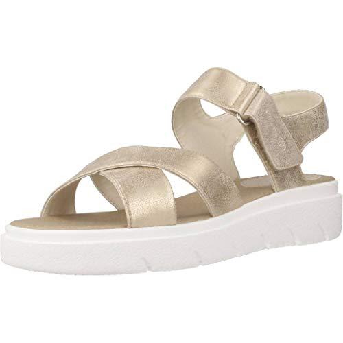 Geox Tamas D92DLE Mujer Sandalias de Vestir,Plataforma Sandalias,fémina Sandalia de la Plataforma,Zapatos de Verano,Sandalia Verano,cómoda Suela,Suela Gruesa,Beige,38 EU