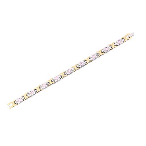 Artibetter Magnetfeldtherapie Armband Diamant Besetzt Edelstahl Armreif Arthritis Karpaltunnel für Geschenk Frauen Mädchen (Gold Silber)